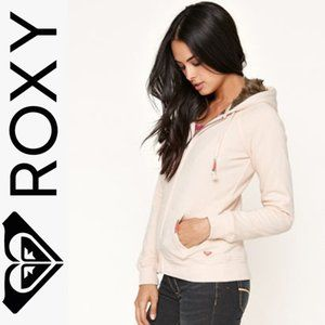 Roxy comfy light pink hoodie with fur lined hood